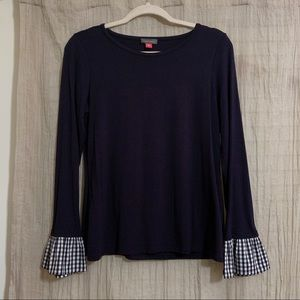 Vince Camuto navy blouse w/ plaid sleeves size M